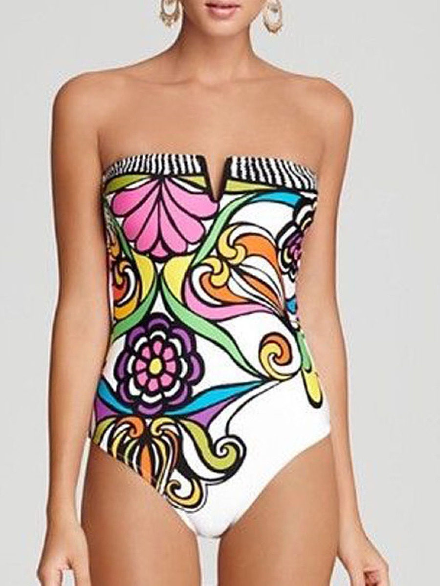 Back Hole  Floral Printed Swimwear