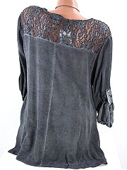 Summer  Cotton  Women  V-Neck  Decorative Lace  Decorative Button  Plain Long Sleeve T-Shirts
