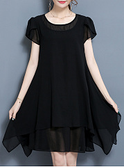 Round Neck Petal Sleeve Chiffon Plain Skater Dress