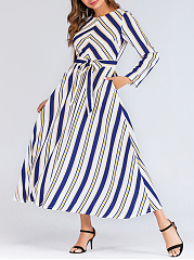 Round Neck  Belt  Printed Daily Maxi Dress