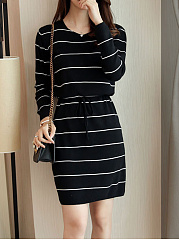 Round Neck  Drawstring  Striped Shift Dress