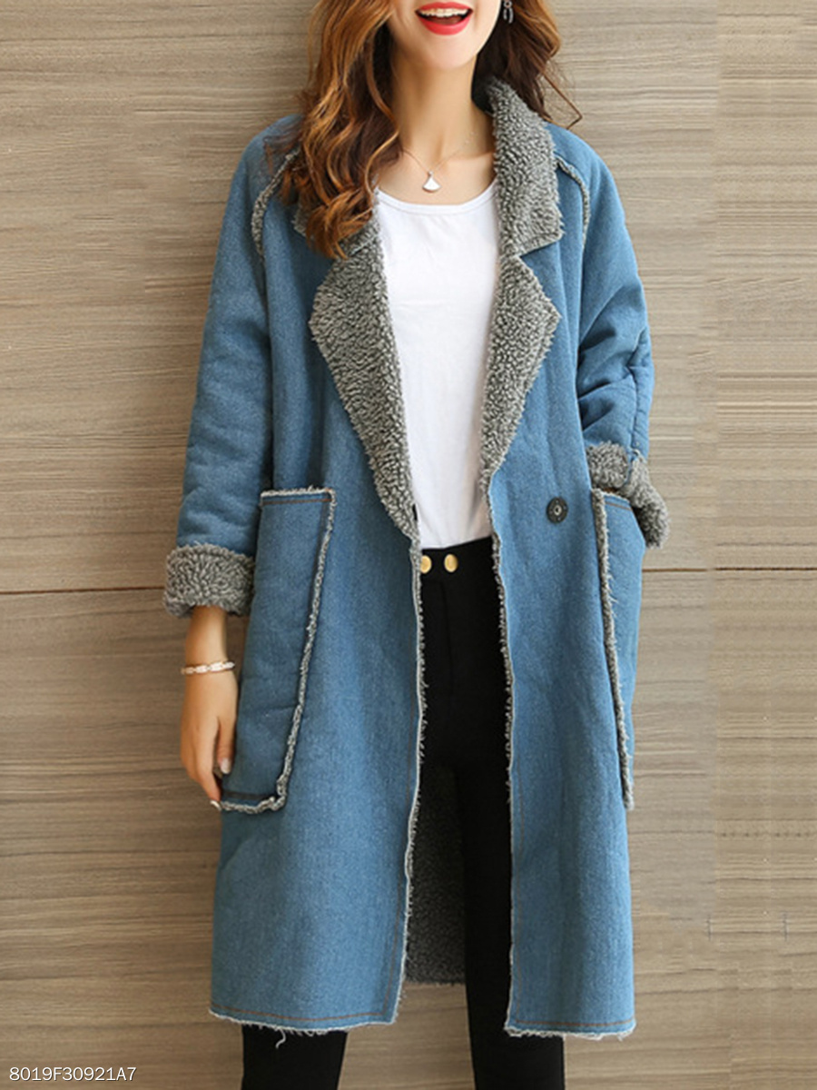 Fold-Over Collar  Plain  Plus Cashmere Long Sleeve Coats