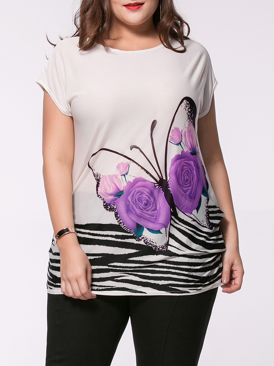 Butterfly Floral Printed Plus Size T-Shirt