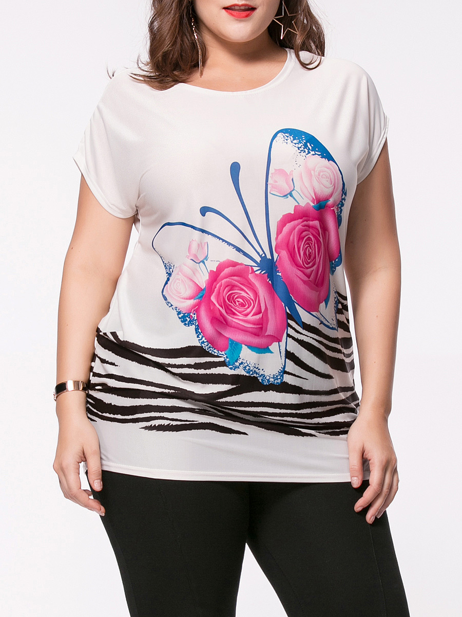 Butterfly floral printed plus size t shirt for T shirt print dimensions