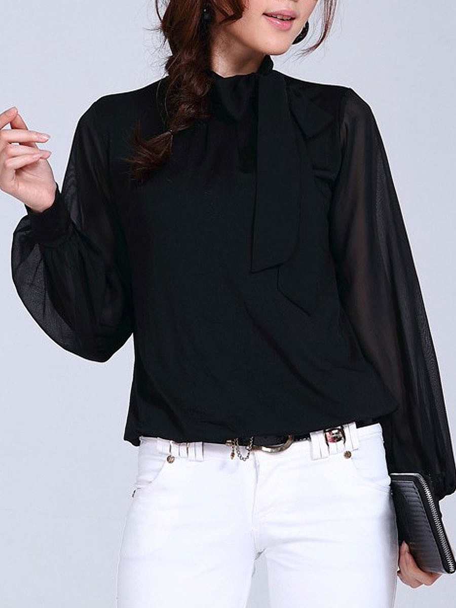 Tie Collar Bowknot Hollow Out Plain Blouse