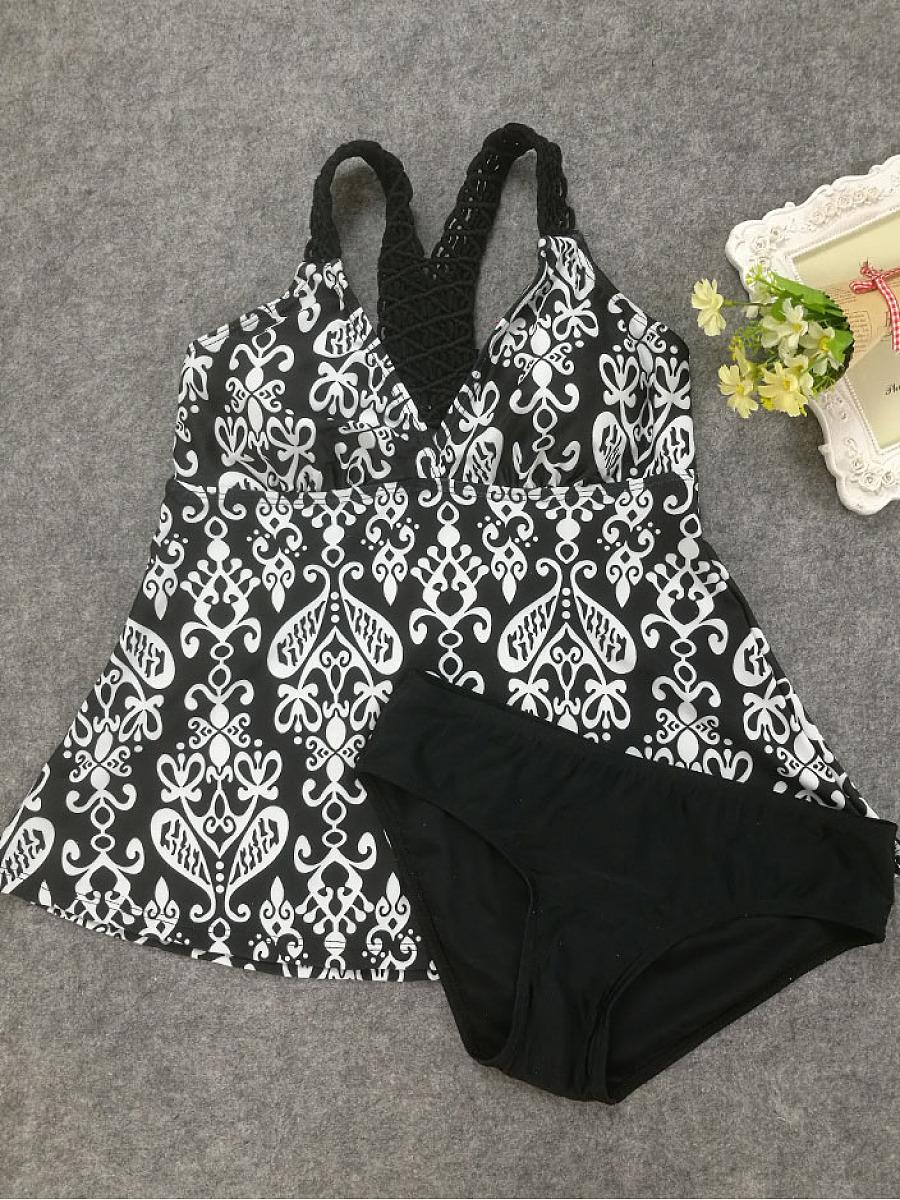 Deep V-Neck  Tribal Printed Swimwear