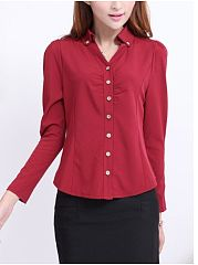 Autumn Spring  Cotton  Women  Single Breasted  Plain  Long Sleeve Blouses
