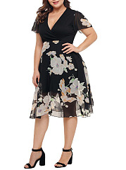 Deep V-Neck  Patchwork  Printed Plus Size Midi & Maxi Dress