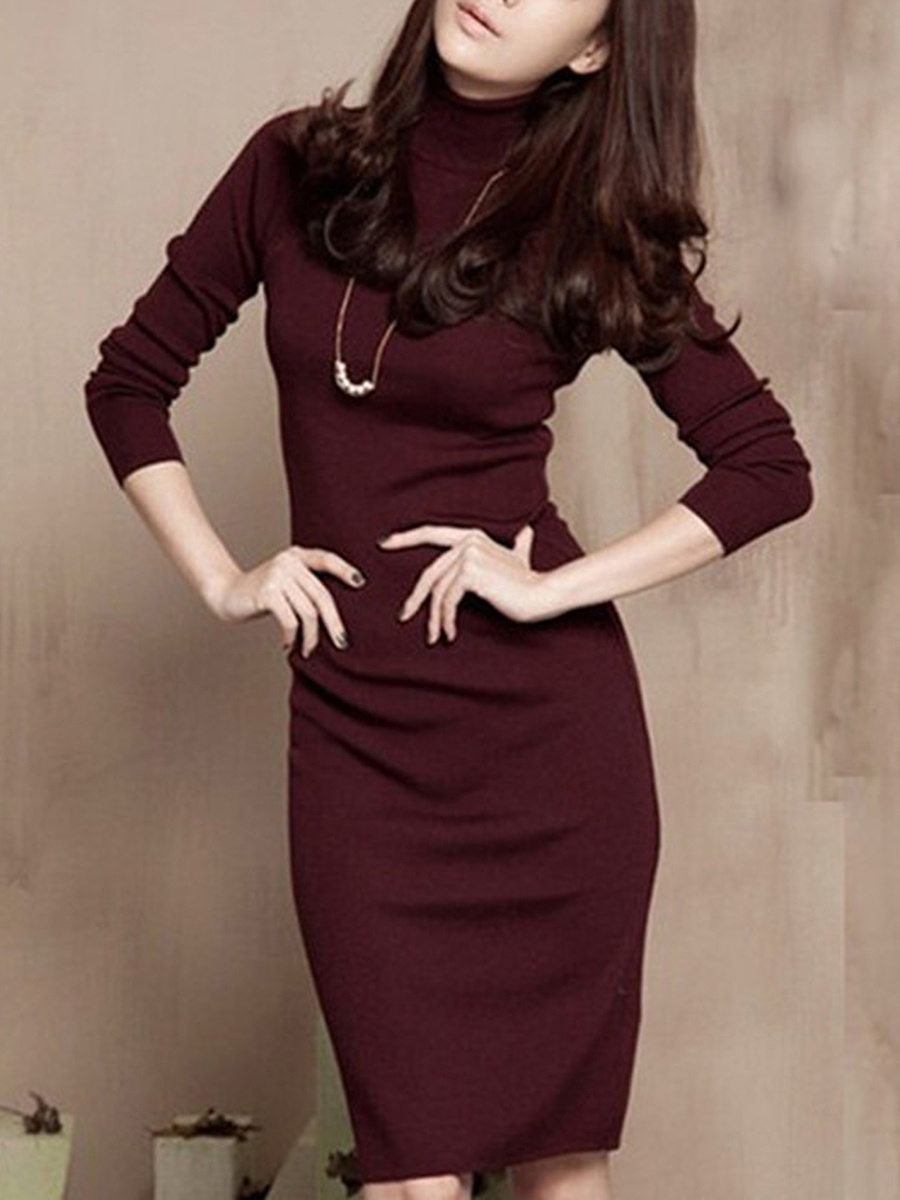 Turtleneck Plain  Knitted Bodycon Dress