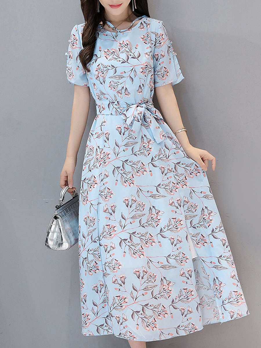 V-Neck  Bowknot  Floral Printed  Chiffon Maxi Dress
