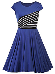 Round Neck Striped Vintage Skater Dress