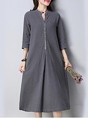 Band Collar  Decorative Button  Plain Shift Dress