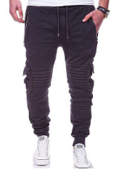 Drawstring Ruched  Plain  Slim-Leg  Mid-Rise Men's Casual Pants