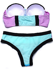 Halter  Color Block Plain Bikini Set