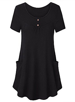 Round Neck  Loose Fitting Patch Pocket  Plain Short Sleeve T-Shirts