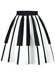 Black White Piano Key Flared Midi Skirt