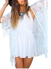 See Through Plain Three-Quarter Sleeve Kimono For Women