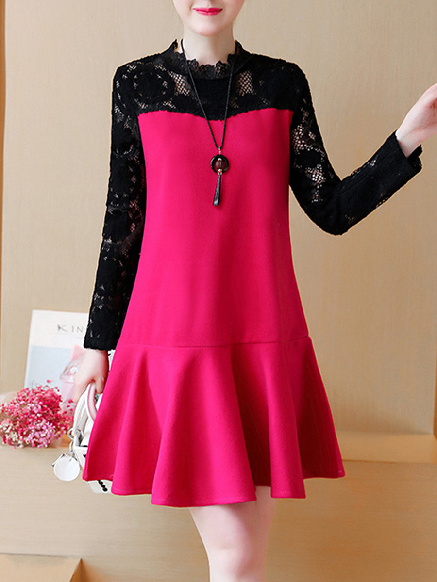 Band Collar  Patchwork  Plain  Polyester Shift Dress