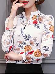 Band Collar Floral Printed Long Sleeve T-Shirt