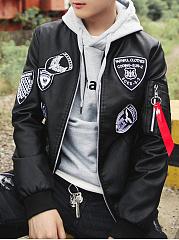 Band-Collar-PU-Leather-Badge-Men-Bomber-Jacket