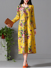 Round Neck  Printed Casual Cotton Maxi Dress