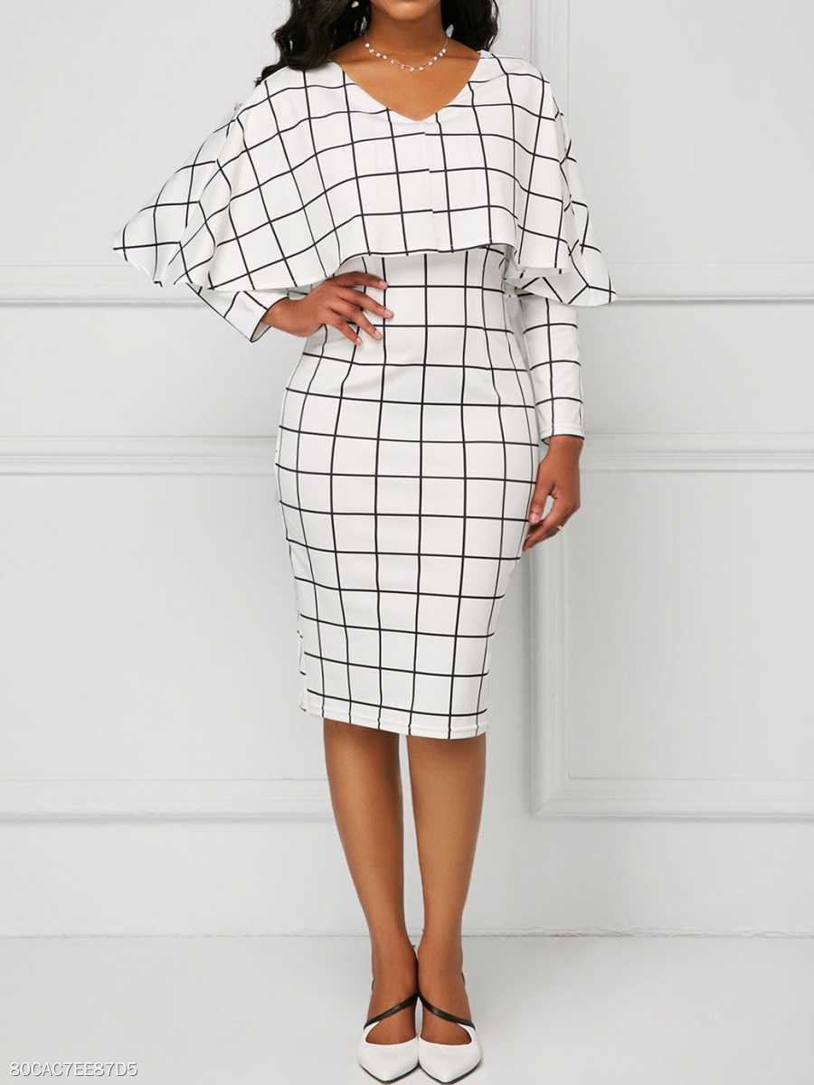 V-Neck  Lightweight  Fake Two-Piece  Plaid Bodycon Dress