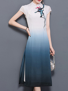 Band Collar  Decorative Button  Gradient Printed Maxi Dress