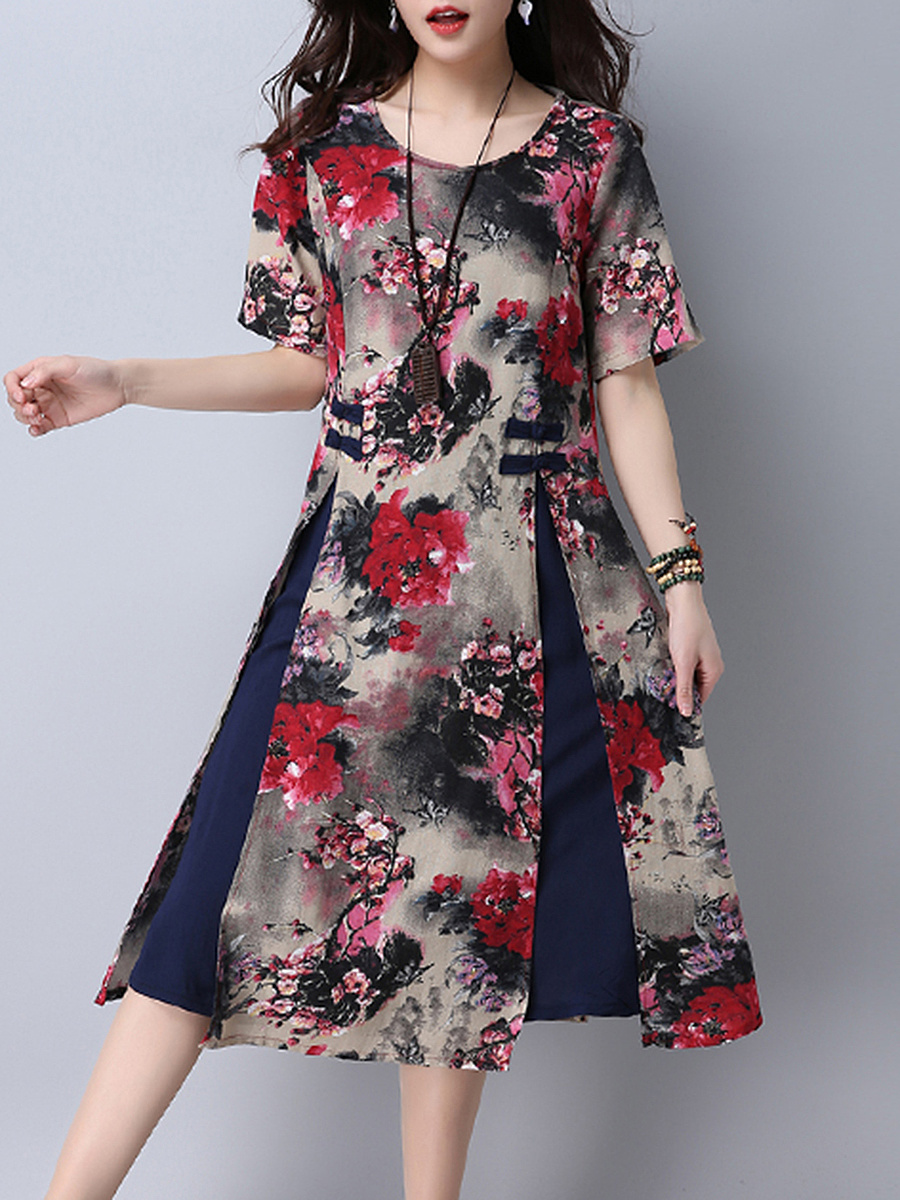 Round Neck  Patchwork  Decorative Button  Printed  Cotton/Linen Shift Dress
