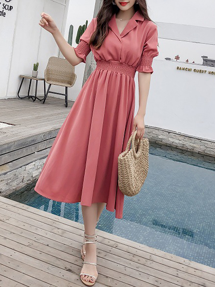Shawl Collar  Elastic Waist  Plain Maxi Dress