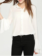 Turn Down Collar  Patchwork  Plain  Bell Sleeve Blouses