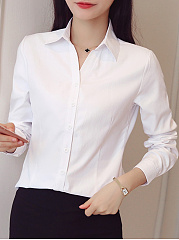 Autumn Spring  Cotton  Women  Turn Down Collar  Plain  Long Sleeve Blouses