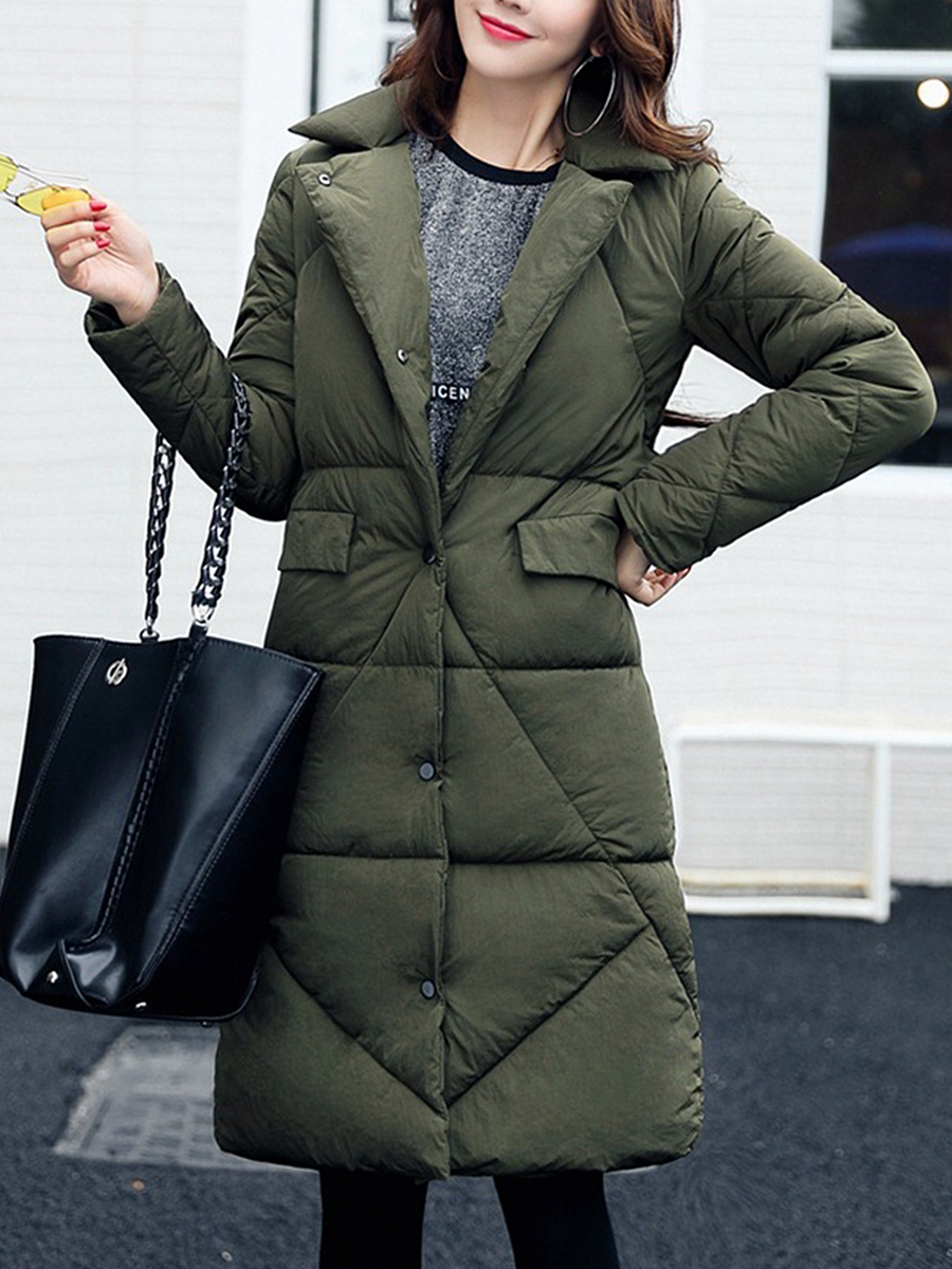 Lapel Flap Pocket Quilted Plain Longline Padded Coat