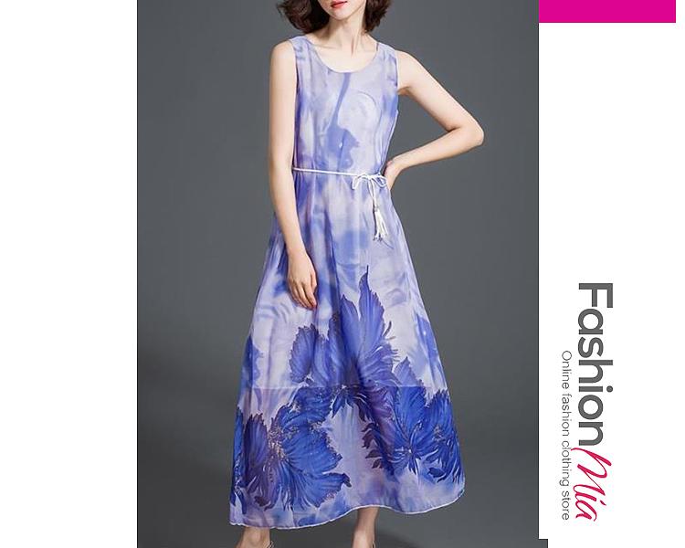 Printed Round Neck  Belt   Maxi Dresses
