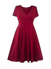 Basic-Surplice-Bowknot-Plain-Plus-Size-Flared-Dress