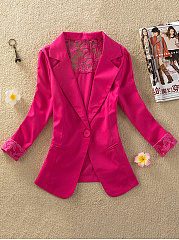 Hollow Out Plain Notch Lapel Blazer