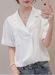 Summer  Polyester  Women  Turn Down Collar  Patch Pocket  Plain  Short Sleeve Blouses