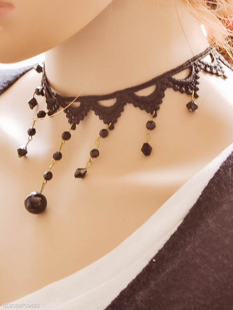 Acrylic Tassel Black Lace Necklace