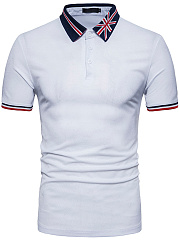 Fold-Over Collar  Short Sleeve Polos
