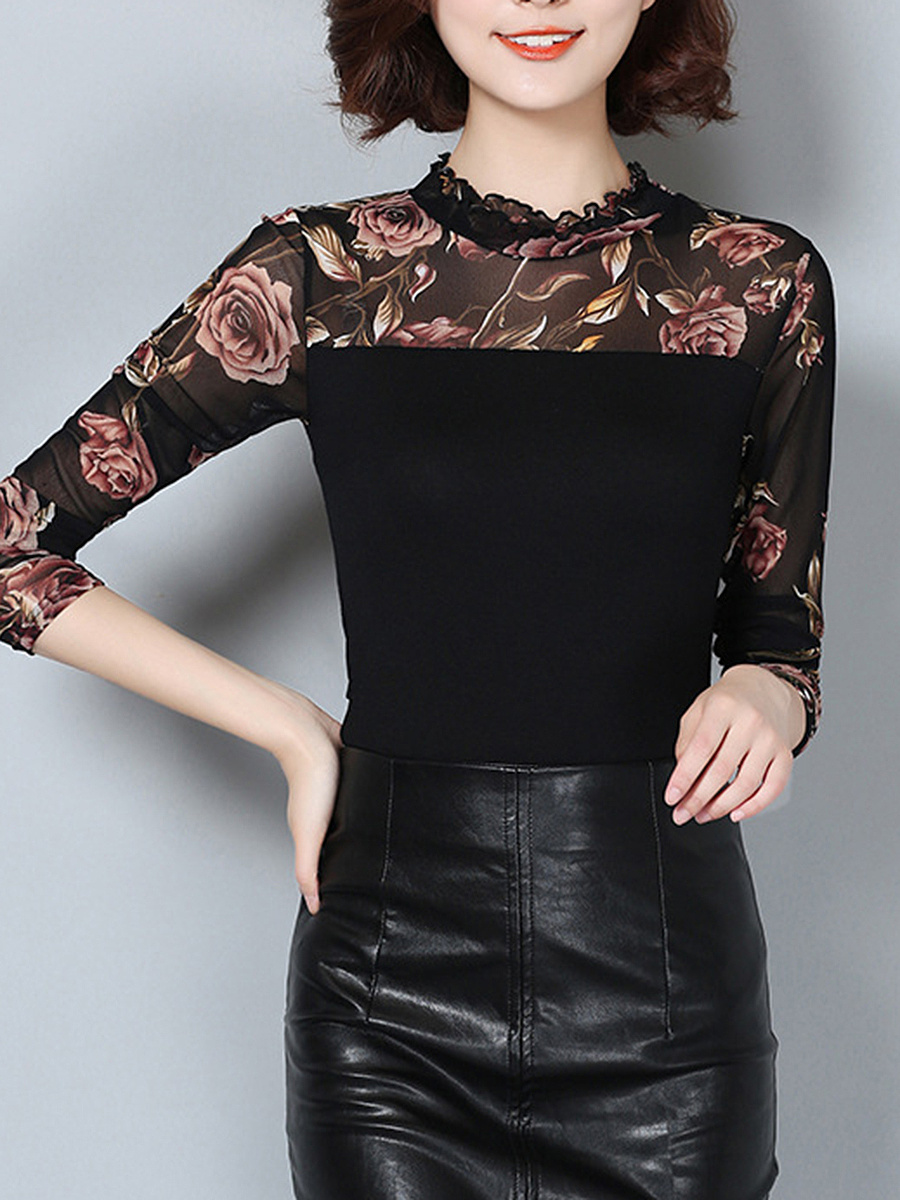 Band Collar Floral Hollow Out Long Sleeve T-Shirt