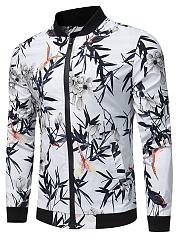 Men-Band-Collar-Floral-Leaf-Printed-Jacket