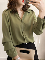 Looe Turn Down Collar Plain Blouse