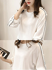 Spring Summer  Cotton  Women  Round Neck  Beading Patchwork  Plain  Petal Sleeve  Long Sleeve Blouses