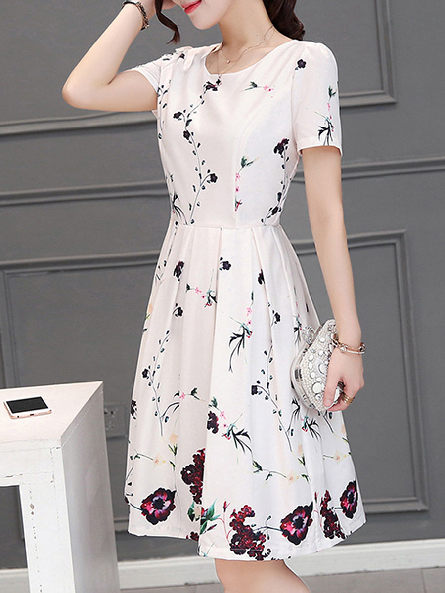 Round Neck Inverted Pleat Floral Printed Skater Dress