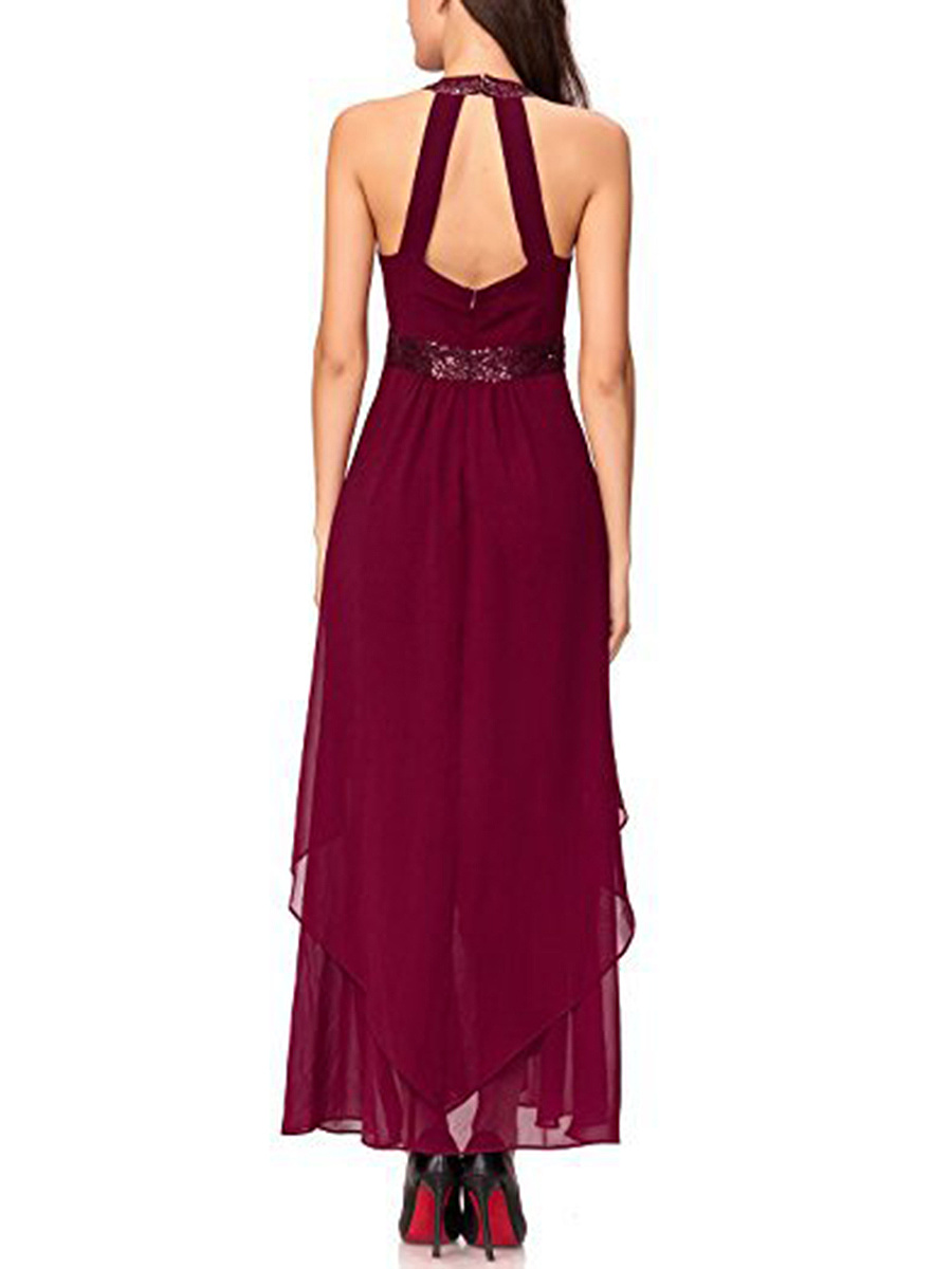 Crew Neck  Asymmetric Hem Patchwork  Plain  Polyester Maxi Dress