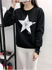 Round Neck  Plain Printed  Long Sleeve Sweatshirts