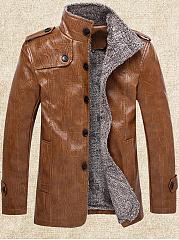 Band-Collar-Decorative-Button-Plain-Men-Jacket