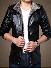 Band Collar  Decorative Button  Plain Men Jacket