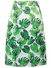 Tropical-Leaf-Printed-Flared-Midi-Skirt