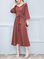 Spaghetti Strap Belt Maxi Dress uni