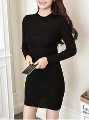 Crew Neck Plain Knitted Dress